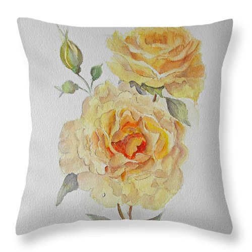 Floral Throw Pillow featuring the painting One Rose Or Two by Beatrice Cloake