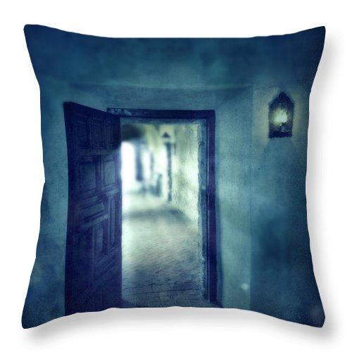 Dark Throw Pillow featuring the photograph Open Door by Jill Battaglia