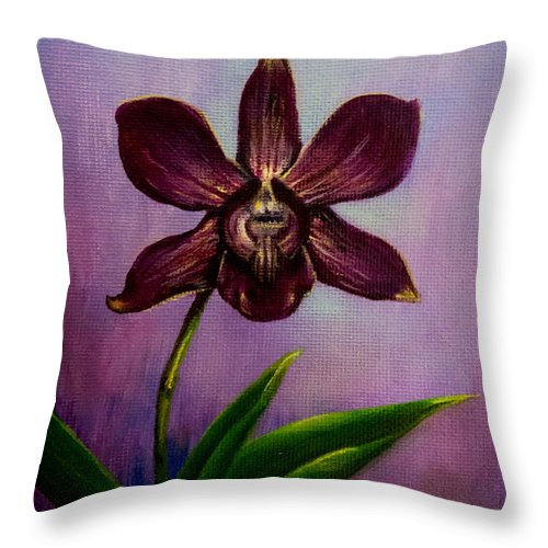 Art Throw Pillow featuring the painting Orchid by Zina Stromberg