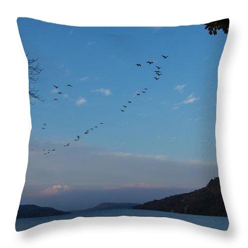Otsego Lake Throw Pillow featuring the photograph Otsego Evening Takeoff II by Jeff Kantorowski