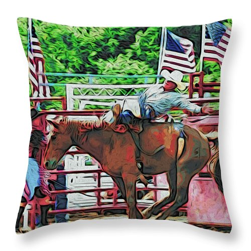 Horse Throw Pillow featuring the photograph Out The Gate by Alice Gipson