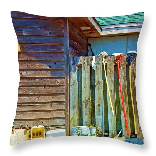 Building Throw Pillow featuring the photograph Out To Dry by Debbi Granruth
