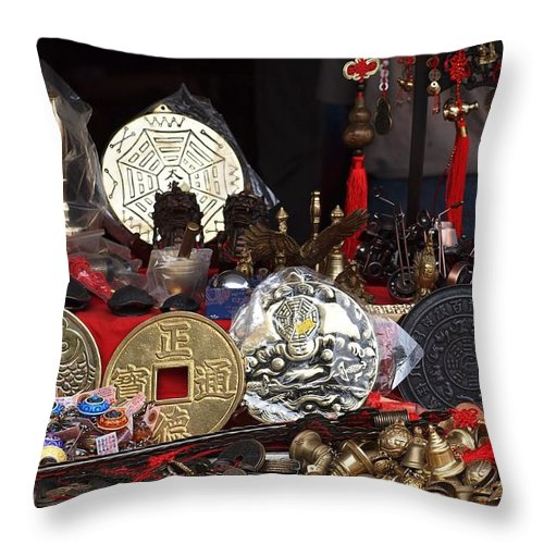 Coins Throw Pillow featuring the photograph Outdoor Shop Sells Fake Chinese Antiques by Yali Shi