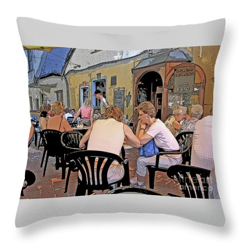 Austria Throw Pillow featuring the photograph Outside Seating by Ann Horn