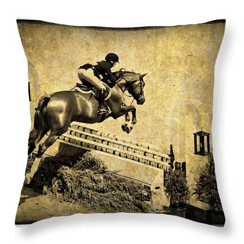 Horse Jumping Throw Pillow featuring the photograph Over by Alice Gipson