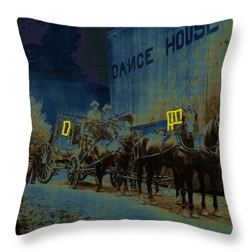 Overland Stage Raiders Homage 1938 Stagecoach 1894 Throw Pillow featuring the photograph Overland Stage Raiders Homage 1938 Stagecoach 1894-2009 by David Lee Guss
