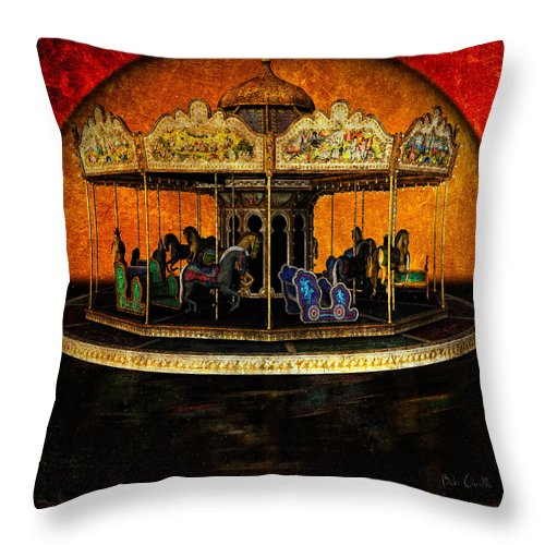Carnival Throw Pillow featuring the photograph Painted Ponies by Bob Orsillo