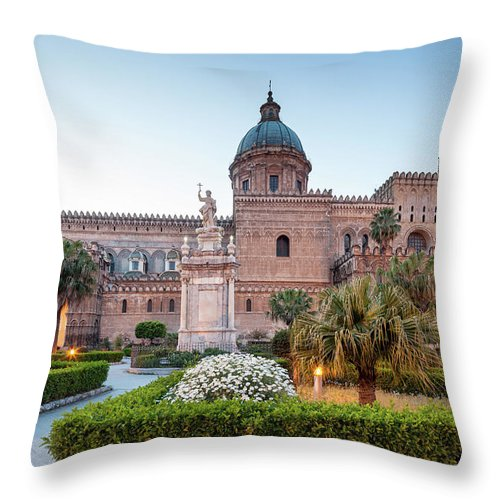 Saturated Color Throw Pillow featuring the photograph Palermo Cathedral At Dusk, Sicily Italy by Romaoslo