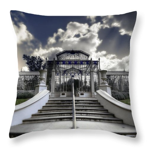 Palms Throw Pillow featuring the photograph Palm House by Wayne Sherriff