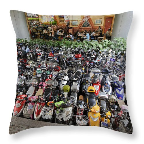 Asia Throw Pillow featuring the photograph Parking Lot, Shanghai by John Shaw