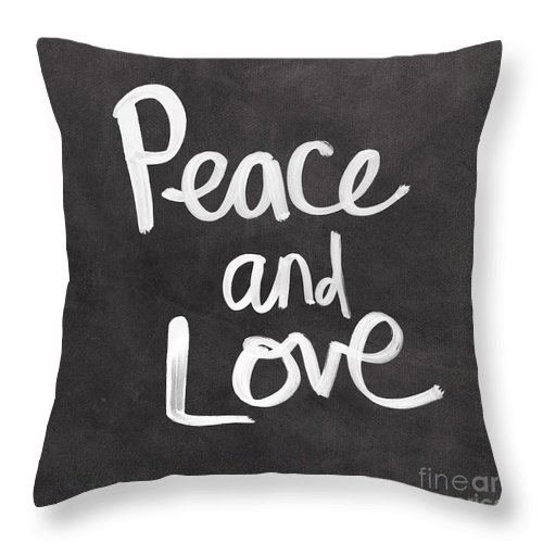 Love Throw Pillow featuring the mixed media Peace and Love by Linda Woods