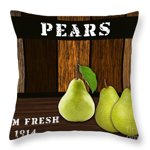 Green Pear Photographs Mixed Media Throw Pillow featuring the mixed media Pear Farm by Marvin Blaine