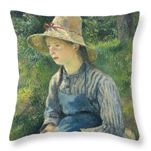 Girl Throw Pillow featuring the painting Peasant Girl With A Straw Hat by Mountain Dreams