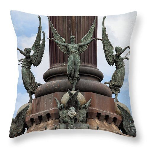 Columbus Throw Pillow featuring the photograph Pedestal Of Columbus Monument In Barcelona by Artur Bogacki