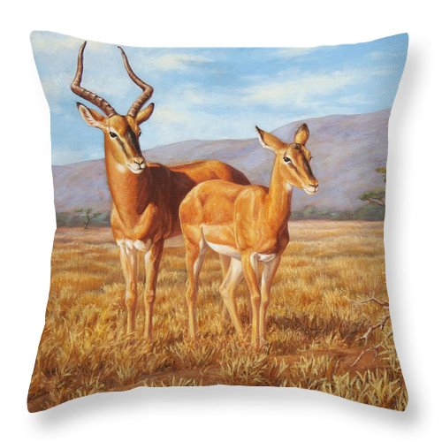 African Throw Pillow featuring the painting Persistence by Crista Forest