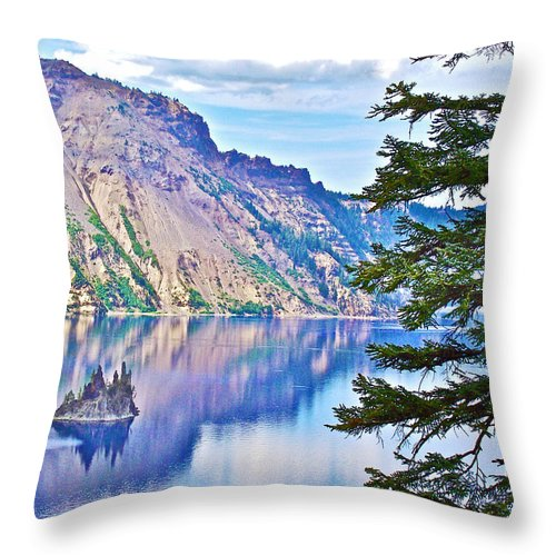 Phantom Ship Overlook In Crater Lake In Crater Lake National Park Throw Pillow featuring the photograph Phantom Ship Overlook In Crater Lake National Park-oregon by Ruth Hager
