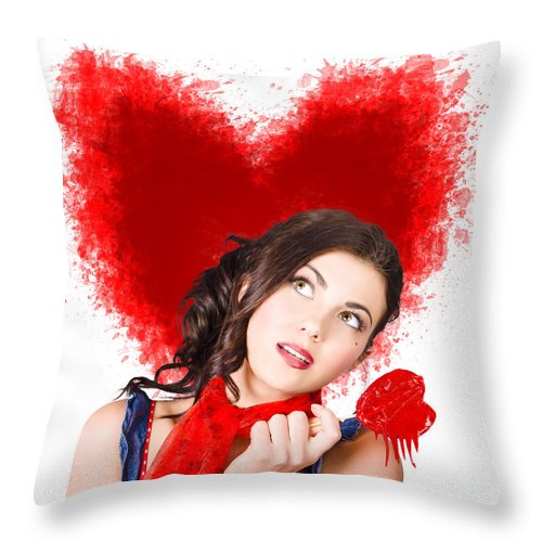 Woman Throw Pillow featuring the photograph Photo Of Romantic Woman Holding Heart Shape Candy by Jorgo Photography - Wall Art Gallery
