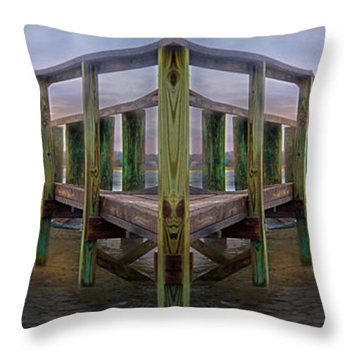 Pier Throw Pillow featuring the digital art Pier by Betsy Knapp