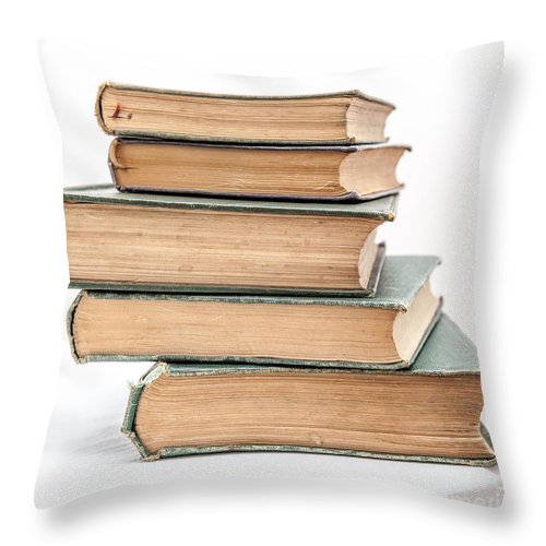 Aged Throw Pillow featuring the photograph Pile Of Very Old Books by Shaun Wilkinson