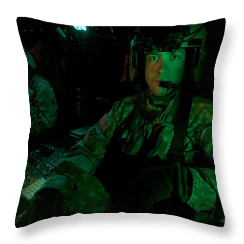 Exercise Angel Thunder Throw Pillow featuring the photograph Pilots Sitting In The Cockpit by Terry Moore