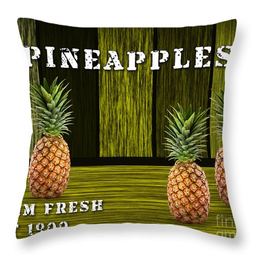 Pineapples Paintings Mixed Media Throw Pillow featuring the mixed media Pineapple Farm by Marvin Blaine