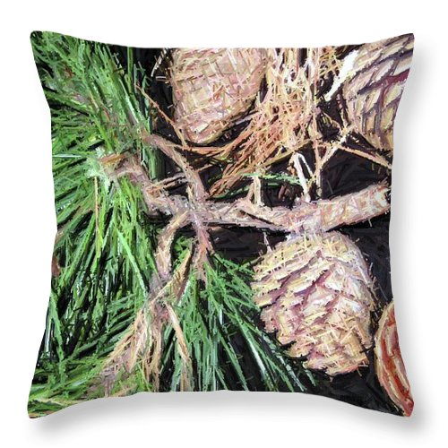 Pine Throw Pillow featuring the photograph Pitch Pine Cone by Susan Carella