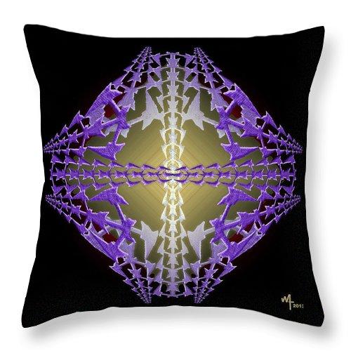 Geometric Abstract Throw Pillow featuring the digital art Pitchforks 0 by Warren Furman