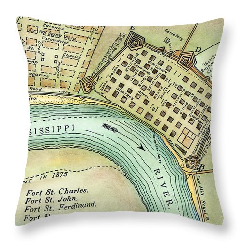 1798 Throw Pillow featuring the photograph Plan Of New Orleans, 1798 by Granger