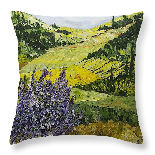 Landscape Throw Pillow featuring the painting Pleasant Heart by Allan P Friedlander