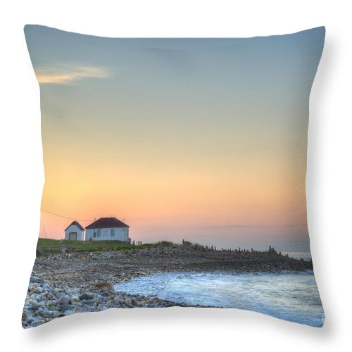 Architecture Throw Pillow featuring the photograph Point Judith Lighthouse by Juli Scalzi