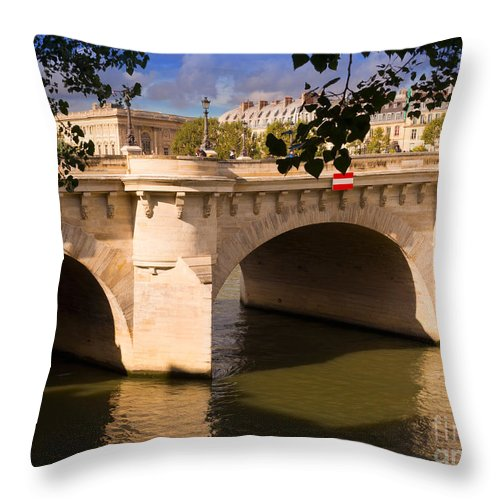 Pont Neuf Throw Pillow featuring the photograph Pont Neuf Over The Seine River Paris by Louise Heusinkveld