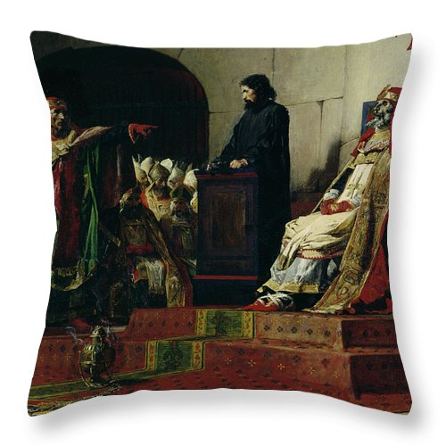 Pope Formosus Throw Pillow featuring the painting Pope Formosus And Pope Stephen Vi by Jean Paul Laurens
