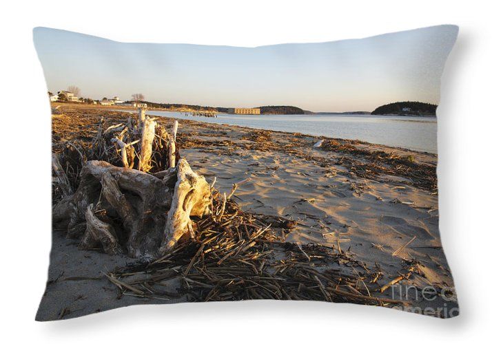 Atkins Bay Throw Pillow featuring the photograph Popham Beach State Park - Phippsburg Maine Usa by Erin Paul Donovan