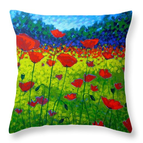 Flowers Throw Pillow featuring the painting Poppy Field by John Nolan