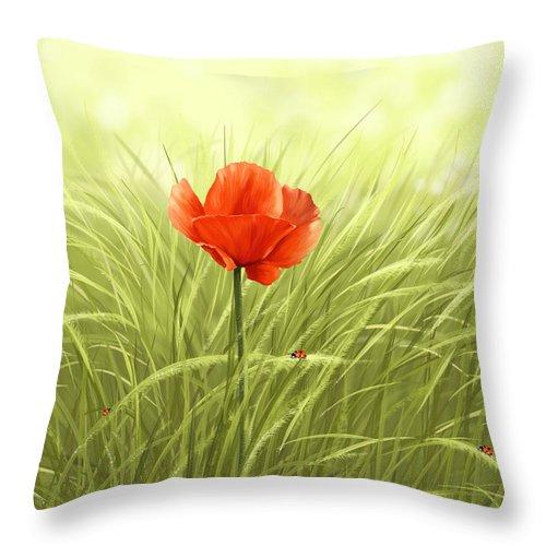 Flower Throw Pillow featuring the digital art Poppy by Veronica Minozzi