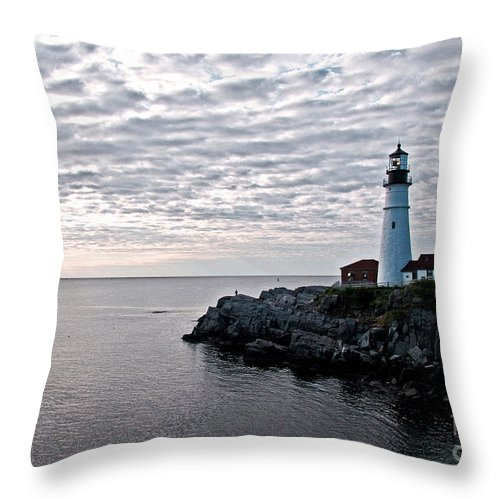 Portland Headlight Throw Pillow featuring the photograph Portland Head Light by Brenda Giasson