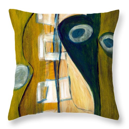 Abstract Art Throw Pillow featuring the painting Portrait Of A Humble Man by Stephen Lucas