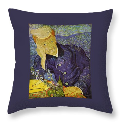 1890 Throw Pillow featuring the painting Portrait Of Doctor Gachet by Vincent van Gogh