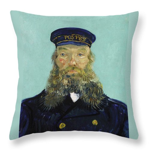 1888 Throw Pillow featuring the painting Portrait Of Postman Roulin by Vincent van Gogh