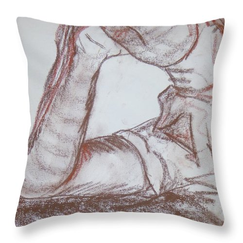 Person Throw Pillow featuring the drawing Posed by Erika Chamberlin