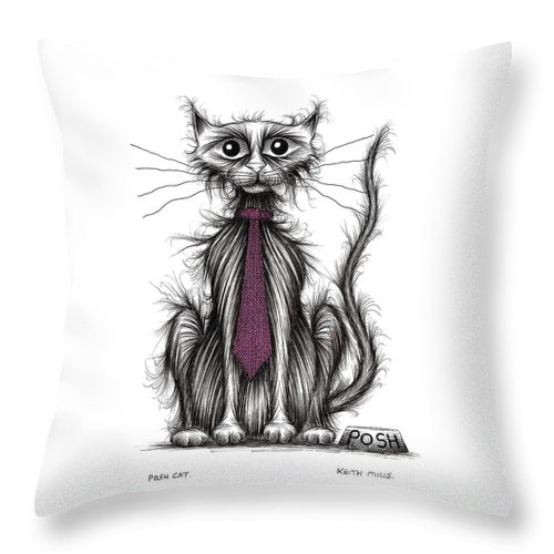 Cat Throw Pillow featuring the drawing Posh Cat by Keith Mills
