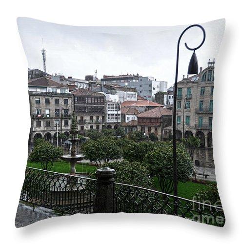 Praza Throw Pillow featuring the photograph Praza Da Ferreria In Pontevedra by RicardMN Photography
