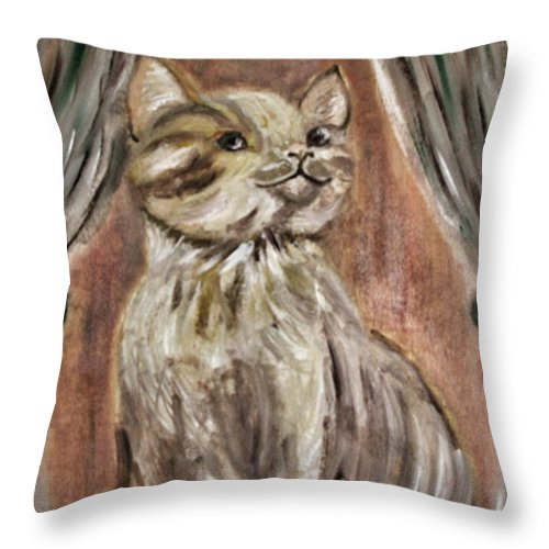 Teresa Throw Pillow featuring the painting Prince Charming by Teresa White