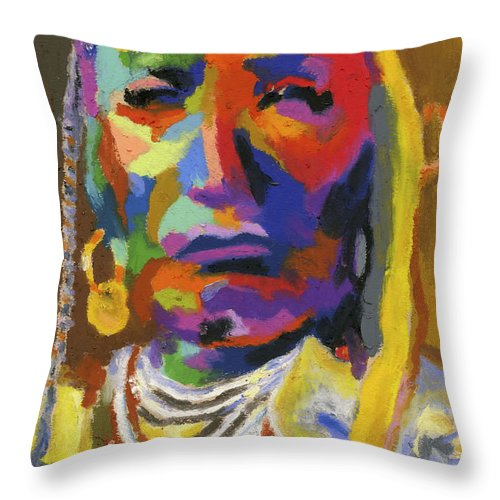 Indian Throw Pillow featuring the painting Proud Native American II by Stephen Anderson