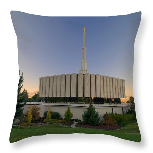 Temple Throw Pillow featuring the photograph Provo Utah Lds Temple by Nathan Abbott