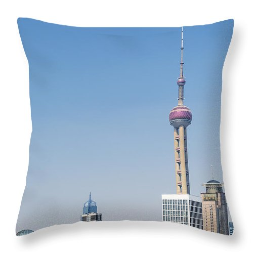 Architecture Throw Pillow featuring the photograph Pudong Skyline In Shanghai China by Jacek Malipan