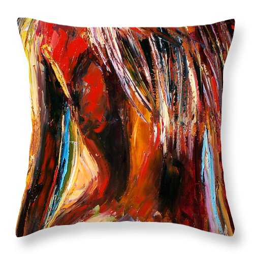 Nude Art Throw Pillow featuring the painting Quiet Breeze by Debra Hurd