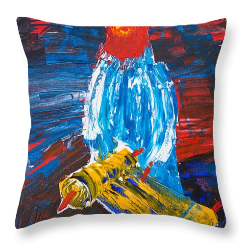 Jewish Art Throw Pillow featuring the painting Rabbi And Torah by Walt Brodis