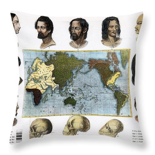 1850 Throw Pillow featuring the photograph Racial Types, 19th Century by Granger