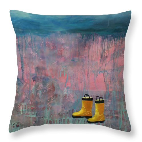 Rain Throw Pillow featuring the painting Rainy Day Galoshes by Guenevere Schwien